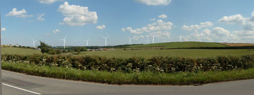 photomontage by RES of proposed Den Brook Valley wind farm